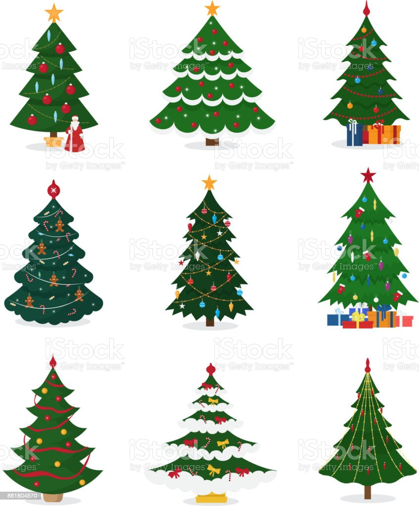 Christmas New Year tree vector icons with ornament star xmas gift design holiday celebration winter season party plant vector art illustration