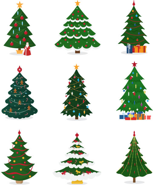 christmas new year tree vector icons with ornament star xmas gift design holiday celebration winter season party plant - light through trees stock illustrations