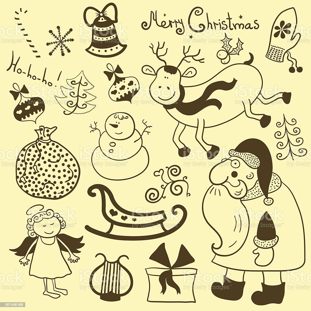 Christmas, new year, vector set vector art illustration
