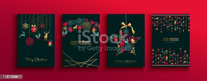 Merry Christmas Happy New Year retro greeting card set of elegant gold holiday decoration. Luxury vintage icons include reindeer, gift, and flowers.