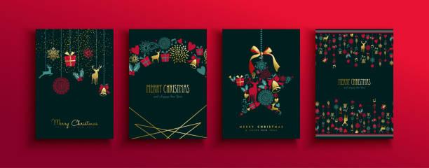 bildbanksillustrationer, clip art samt tecknat material och ikoner med jul nyår vintage guld hjort ikon kort set - christmas card