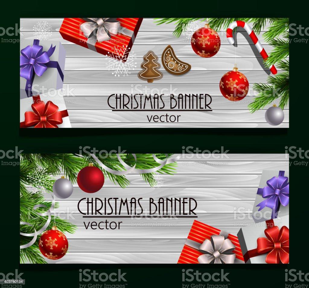 Christmas New Year web banner set vector art illustration