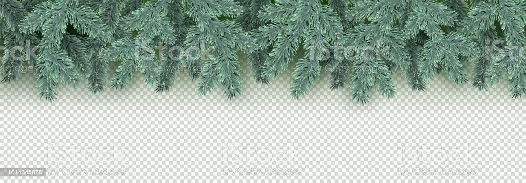 Christmas, New Year, Winter border with realistic branches of...