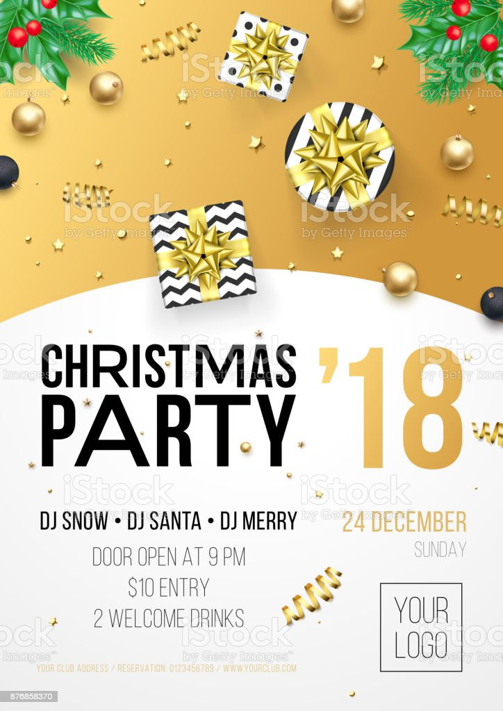 Christmas New Year Winter Holiday Party Celebration Poster Or ...
