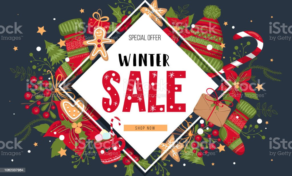 christmas new year winter sale banner poster background flyer invitation
