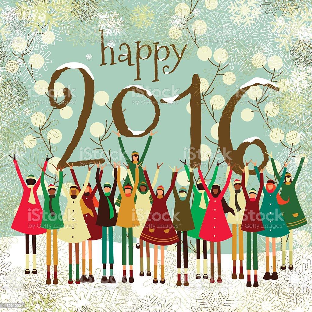 Christmas New Years Greeting Card Children 2016 Kids Winter