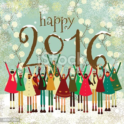 New year's 2016 greeting card with a happy multiethnic group of children celebrating.