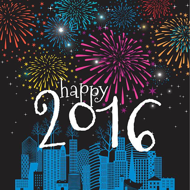 christmas, new year's greeting card, fireworks, cityscape, 2016, celebration, winter vector art illustration