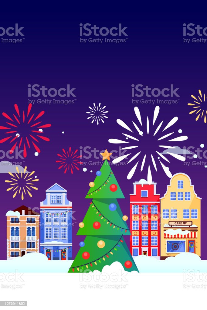 Christmas Carnival Poster.Christmas New Years Holiday Greeting Card Vector Flat