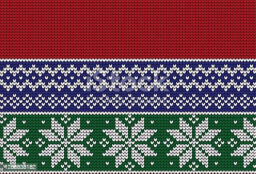 istock Christmas New Year's winter seamless festive Norwegian pixel pattern - Scandinavian style 1288838182