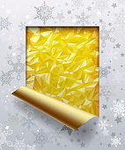 Christmas & New-Year's greeting cut framed and partially rolled up card with silver snowflakes and gold foil background. Vector Illustration