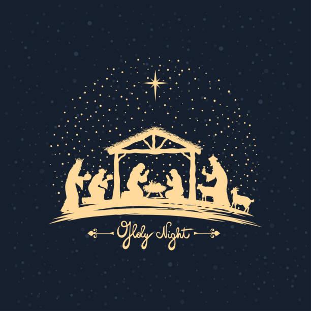Christmas night. Birth of Jesus vector art illustration