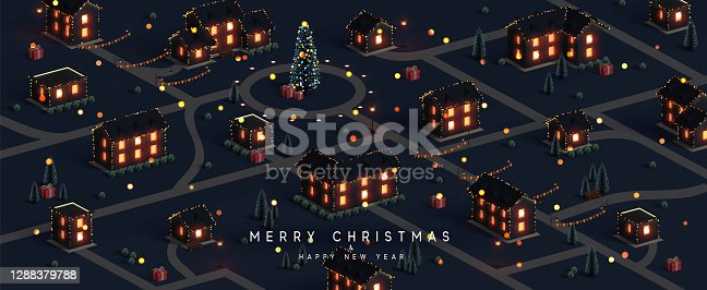 istock Christmas night city. Winter Xmas village landscape, cottage town and country, Decorated with New Year garland, blur lights bokeh. Festive banner, web poster, greeting card, cover. Vector illustration 1288379788