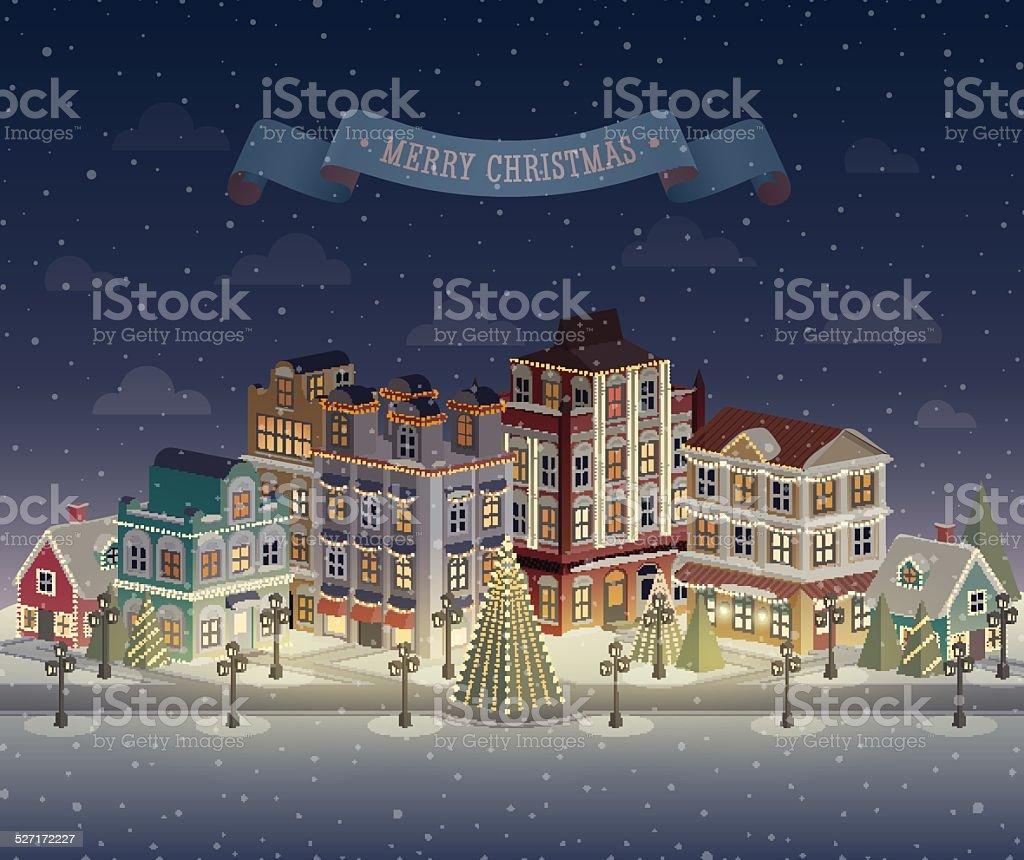 クリスマスの夜の街並み降っていますベクトルイラスト 2015年の