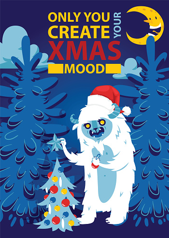 Christmas night forest bigfoot monster spooky greeting card vector background banner holidays winter xmas hand draw congratulation New Year 2019 website banner invitation poster illustration