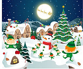 Christmas night full moon party scene, with Elves having fun playing in the snow, with Christmas tree, snowman, full moon, Santa´s sledge with reindeer vector illustration cartoon.