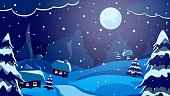 Christmas Night Landscape. , Winter time illustration for card. New Year's poster