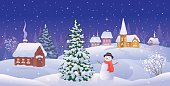 Vector illustration of a Christmas night landscape with a snow covered small town and a snowman.