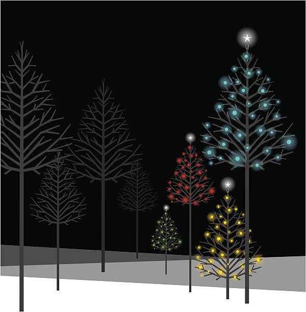 Christmas night Christmas forest. Please see some similar pictures in my lightboxs: light through trees stock illustrations