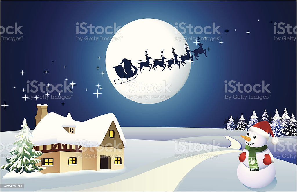 Christmas Night vector art illustration