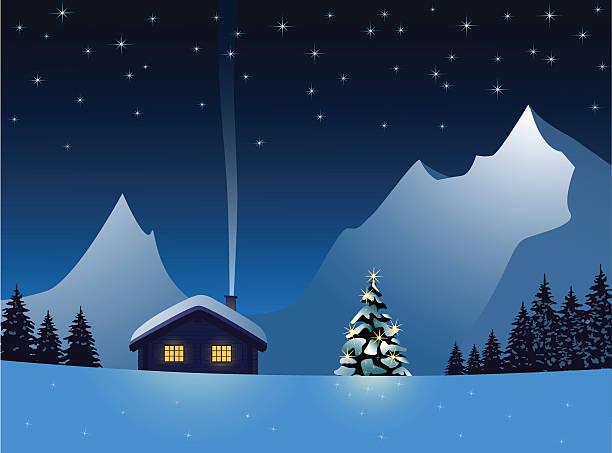 stockillustraties, clipart, cartoons en iconen met christmas night - christmas cabin