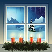 View through a window at a mountain landscape in the christmas time. Four advent candles in the foreground. Download contains EPS 10, AI 10, AI CS5, PDF, JPEG (6000 x 6000 px). All elements are grouped and in separate layers.