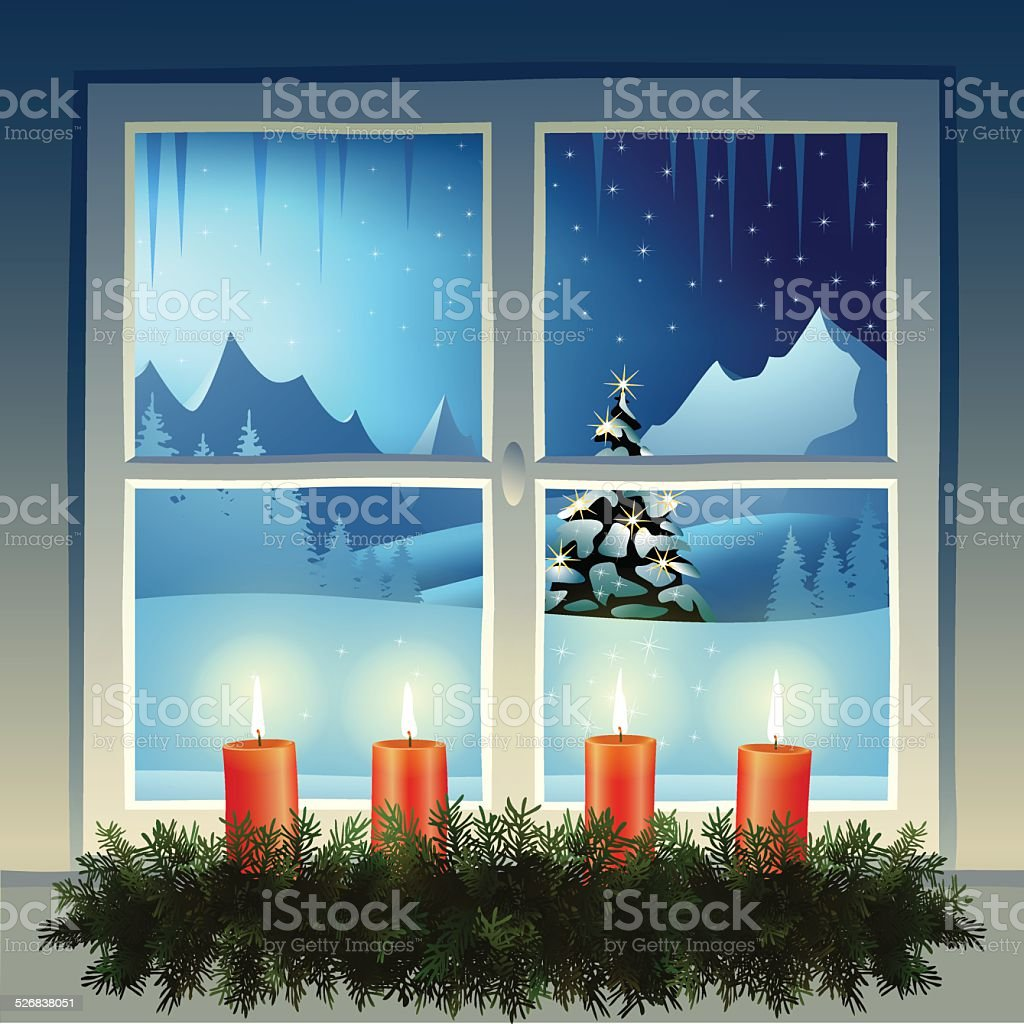クリスマスの夜 ベクターアートイラスト