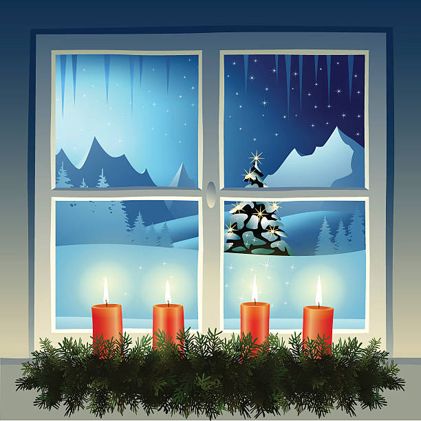 ilustraciones, imágenes clip art, dibujos animados e iconos de stock de noche de navidad - adviento