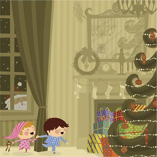 bildbanksillustrationer, clip art samt tecknat material och ikoner med christmas night - christmas gift family