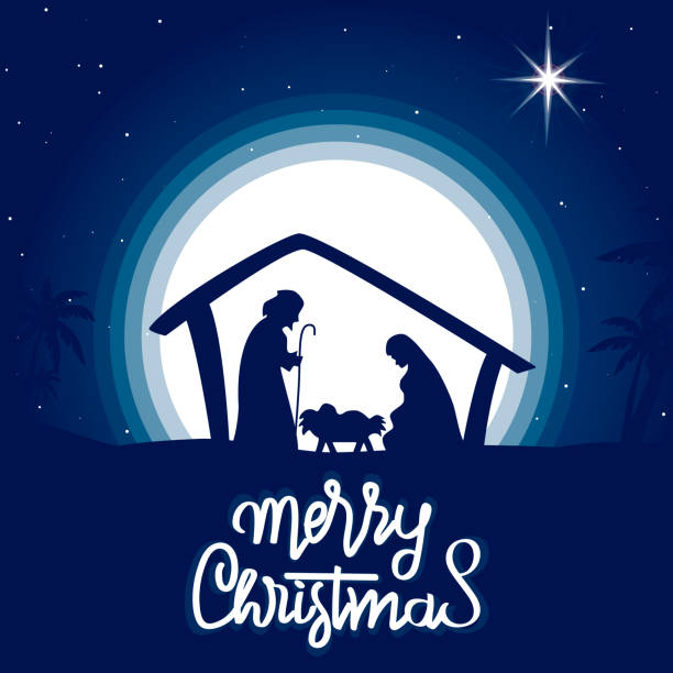 Christmas night. Vector illustration. Christmas night. Vector illustration. nativity silhouette stock illustrations