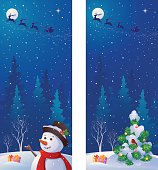 Vector vertical banners with greeting snowman and snow covered Christmas tree.