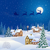Vector illustration of a snowy Christmas night village and Santa Claus flying sleigh, square design xmas card