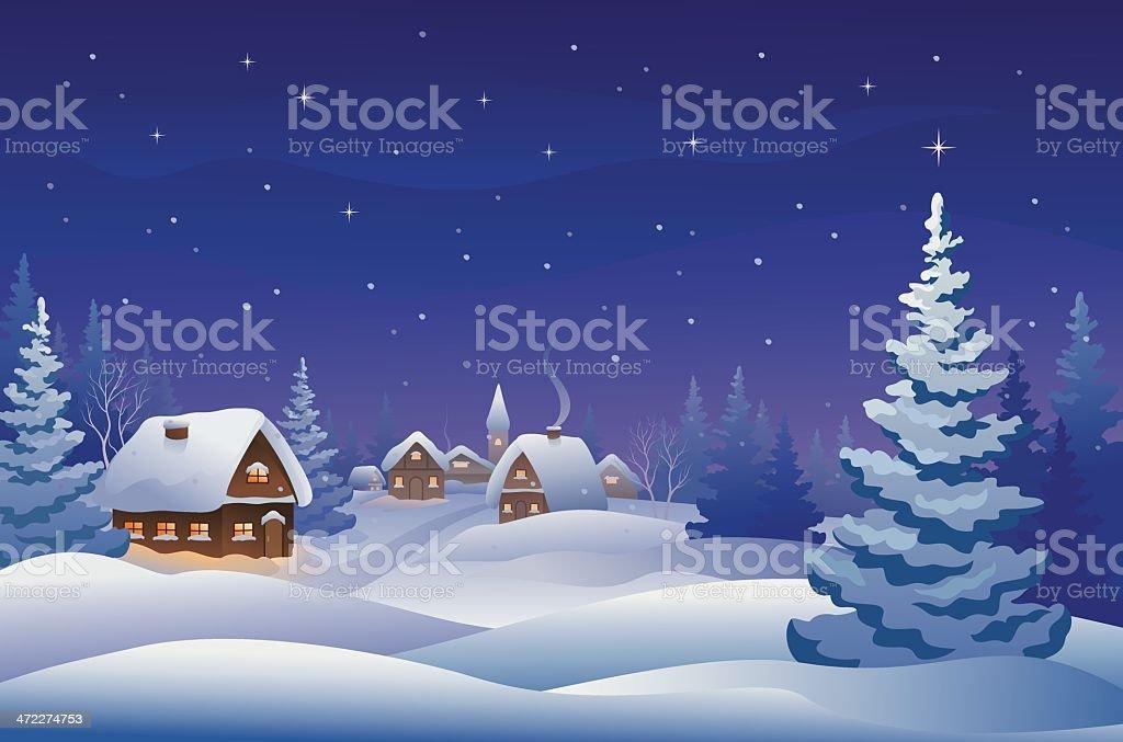 Christmas night village royalty-free stock vector art