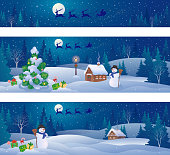Vector illustration of Christmas night landscapes and Santa Claus sleigh flying, panoramic banners set