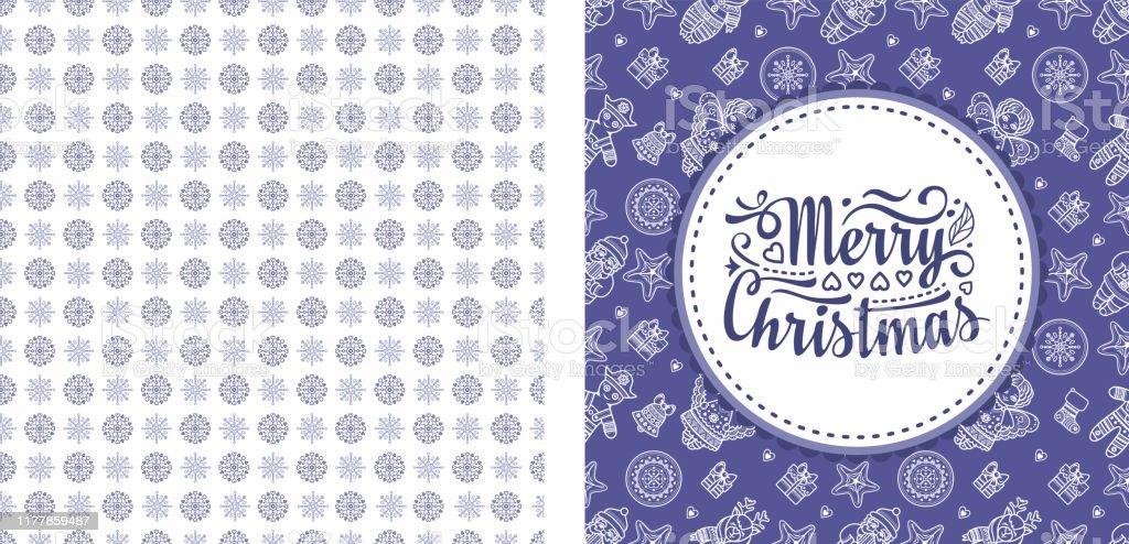 Noel. Noel, ne zaman? Weihnachten mı? Noel sorunsuz desen ve yazı tebrik kartı. Melek, Fındıkkıran, Noel Baba, Noel oyuncakları, saat saatleri, kar tanesi, çorap, kalp, Noel ren geyiği Rudolph - Royalty-free Aralık Vector Art