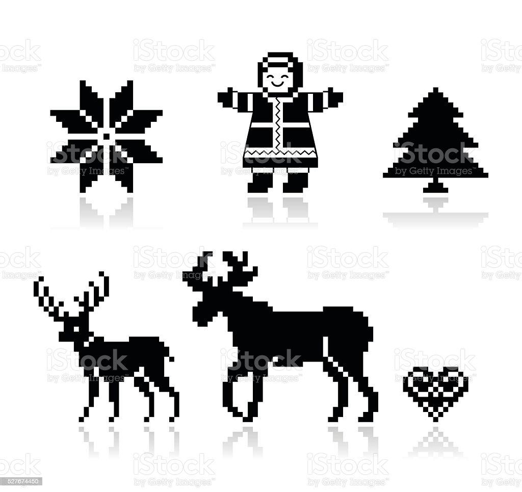 Christmas Nordic pattern vector icons set vector art illustration