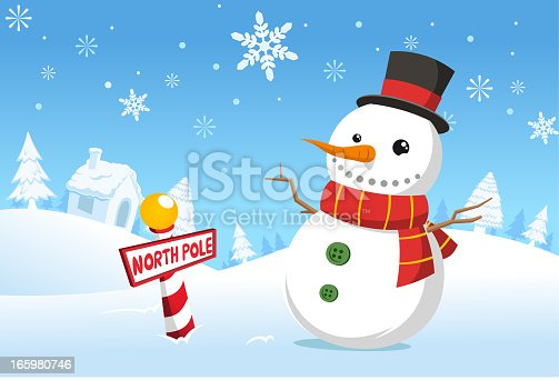 istock Christmas North pole snowman snowy landscape 165980746