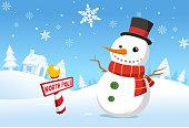Christmas North pole snowman vector illustration cartoon.