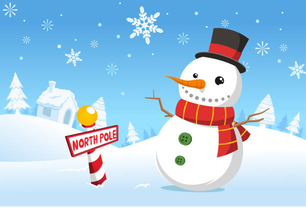 Christmas North pole snowman snowy landscape Christmas North pole snowman vector illustration cartoon.  snowman stock illustrations