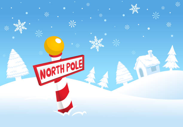 Christmas North Pole Winter Snowy Sign Christmas North Pole Winter Snowy Sign. With north Pole Red and White sign Vector illustration cartoon.  north pole stock illustrations
