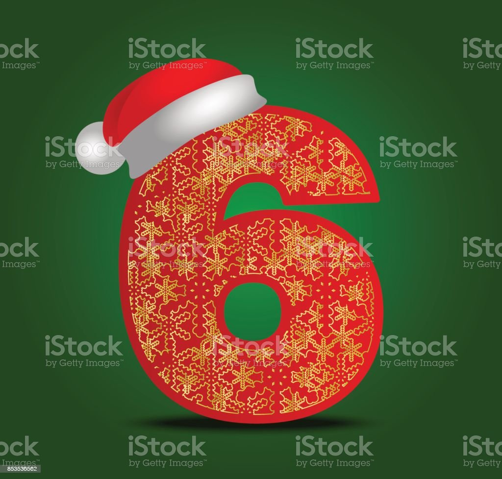 Kar Taneleri Ile Noel Rakamı Vektör Süs Rakamı 6 Santa şapka Ile