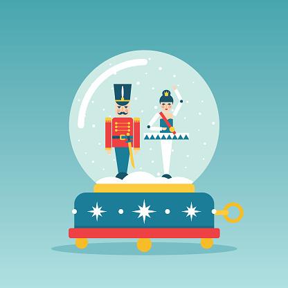 Christmas Nutcracker and ballerina snow globe music box vector illustration