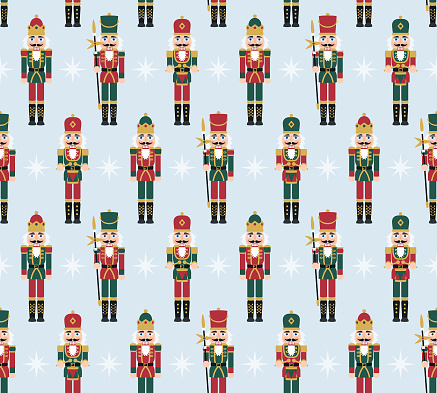 Christmas Nutcracker Figures - Seamless Pattern with Toy Soldier Doll Decorations