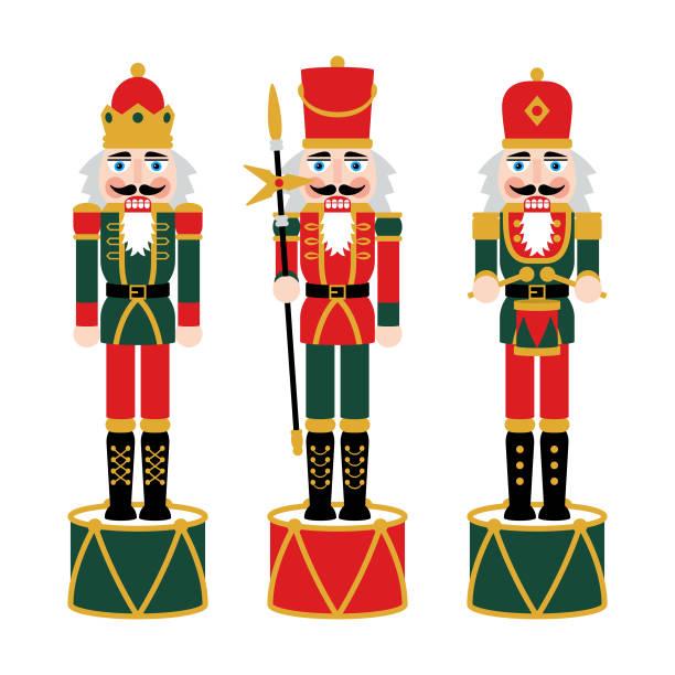 weihnachten nussknacker figuren - spielzeug soldat puppe dekorationen - weihnachtsmarkt stock-grafiken, -clipart, -cartoons und -symbole