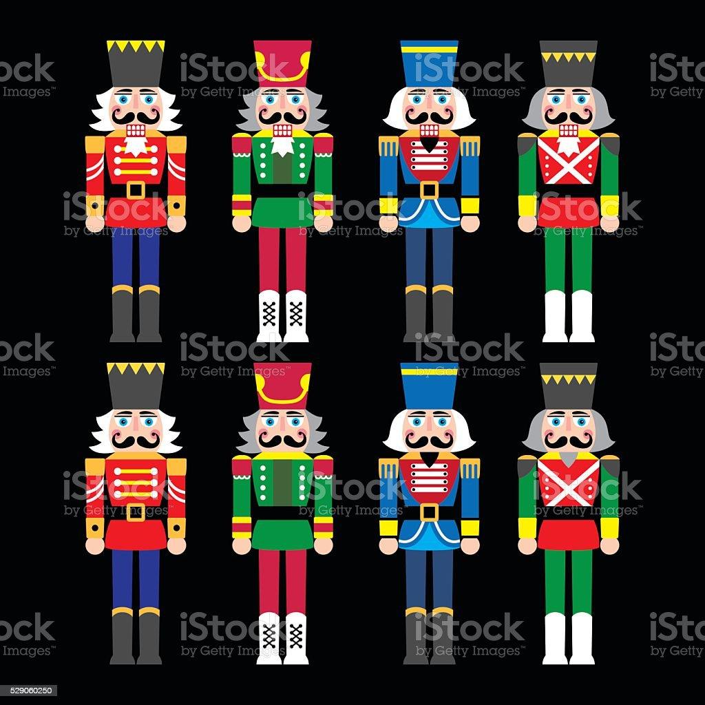 Christmas nutcracker - soldier figurine icons set on black vector art illustration