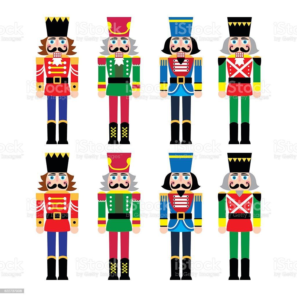 Christmas nutcracker - soldier figurine icons set vector art illustration