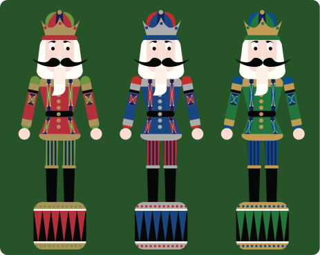 christmas nutcrackers with green background