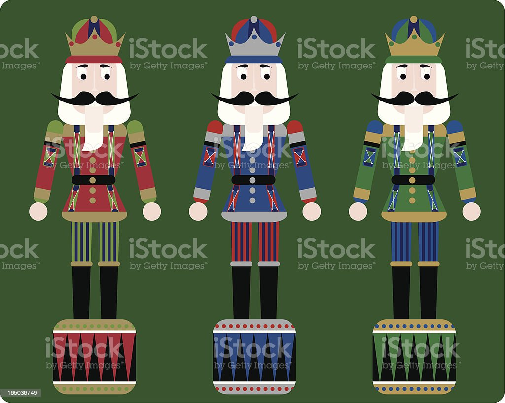 christmas nutcrackers with green background vector art illustration