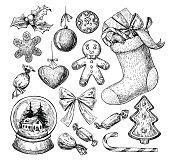 Christmas object set. Hand drawn vector illustration. Xmas icons