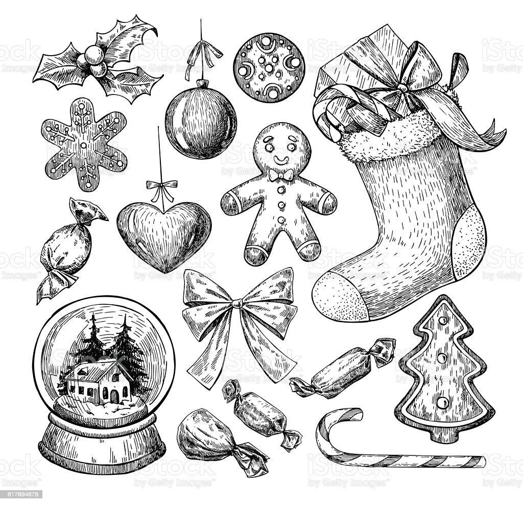Christmas object set. Hand drawn vector illustration. Xmas icons vector art illustration